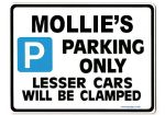 MOLLIE'S Personalised Parking Sign Gift | Unique Car Present for Her |  Size Large - Metal faced